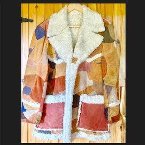 Vintage suede patchwork lined jacket L